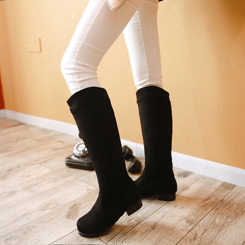 Suede Pure Color Round Toe Low Heel Woven Decoration Knee High Boots 9 Black