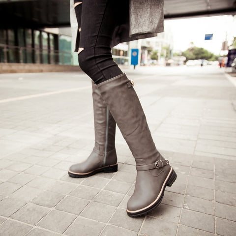 PU Pure Color Round Toe Low Heel Side Zipper Knee High Boots 9 Dark gray