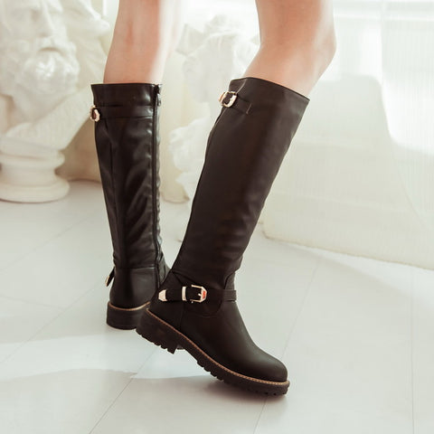 PU Pure Color Round Toe Low Heel Side Zipper Knee High Boots 9.5 Black