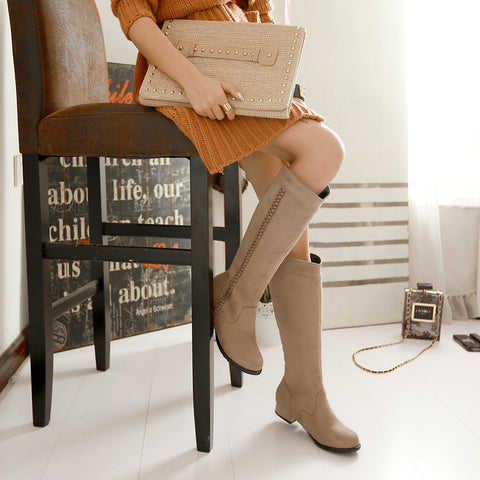 Suede Pure Color Round Toe Low Heel Woven Decoration Knee High Boots 9 Camel