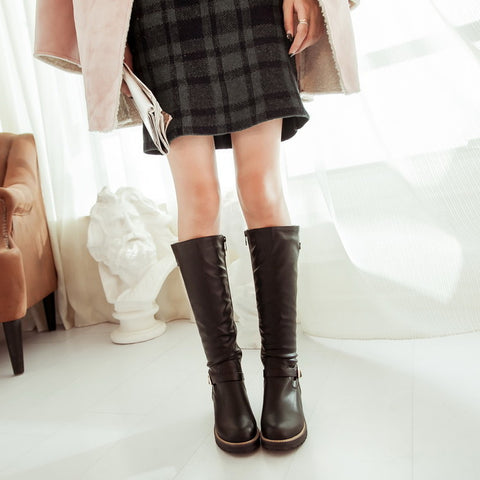 PU Pure Color Round Toe Low Heel Side Zipper Knee High Boots 8.5 Black