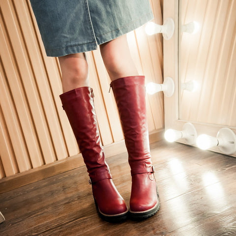 PU Pure Color Round Toe Low Heel Side Zipper Knee High Boots 8.5 Red