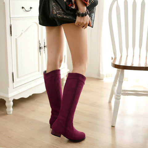 Suede Pure Color Round Toe Low Heel Woven Decoration Knee High Boots 9 Dark red