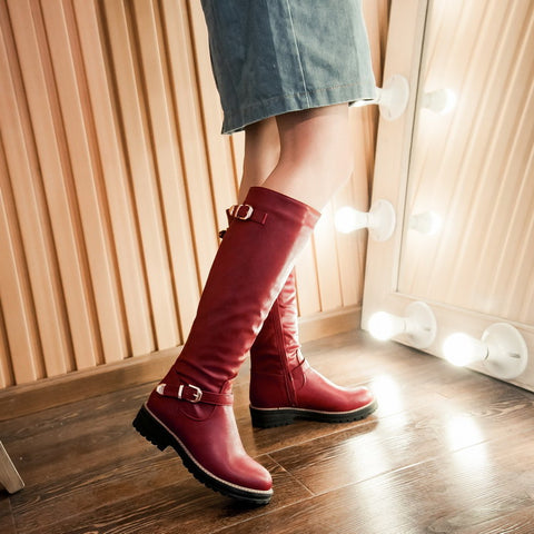 PU Pure Color Round Toe Low Heel Side Zipper Knee High Boots 9 Red