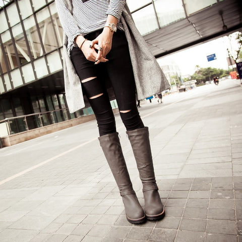 PU Pure Color Round Toe Low Heel Side Zipper Knee High Boots 8.5 Dark gray