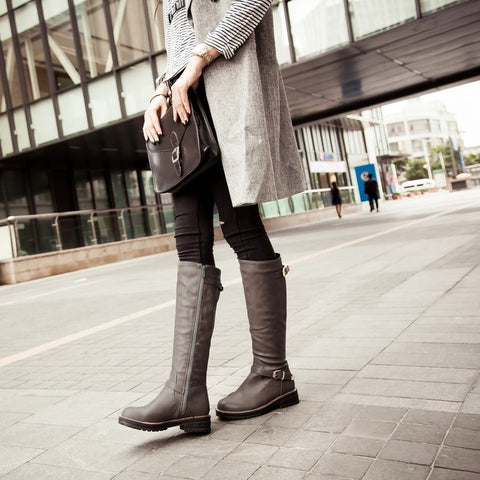 PU Pure Color Round Toe Low Heel Side Zipper Knee High Boots 9.5 Dark gray