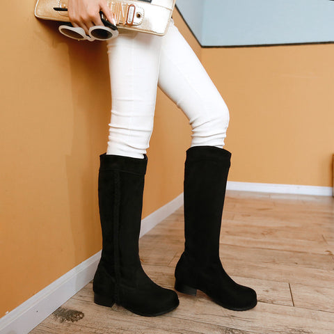 Suede Pure Color Round Toe Low Heel Woven Decoration Knee High Boots 9.5 Black