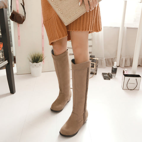 Suede Pure Color Round Toe Low Heel Woven Decoration Knee High Boots 9.5 Camel