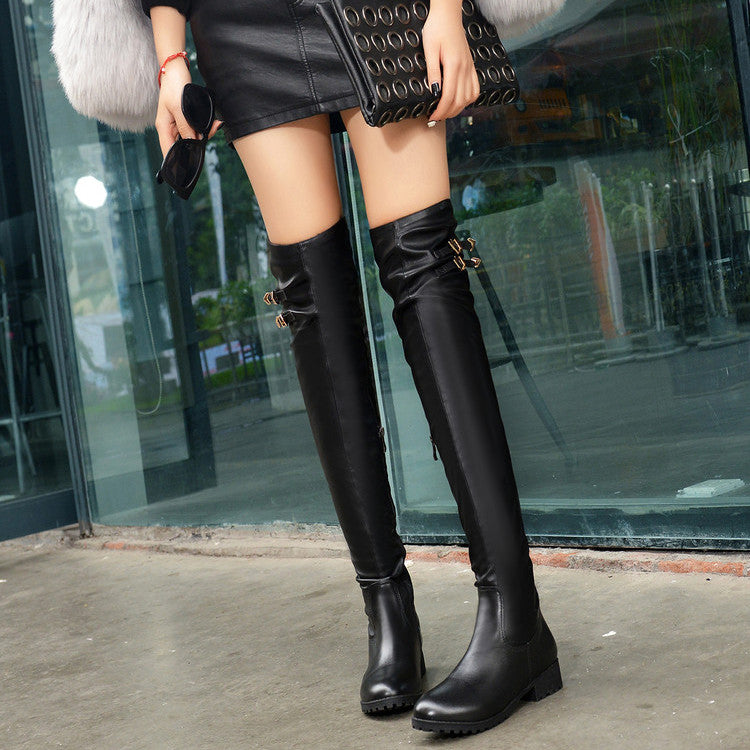PU Pure Color Round Toe Side Zipper Metal Buckle Over Knee Boots 7.5 Black