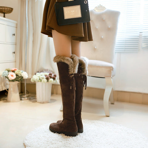 Suede Pure Color Round Toe Low Heel Back Strap Side Zipper Over Knee Boots 6.5 Chocolate