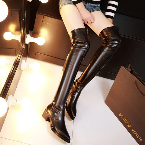 PU Black Pointed Toe Low Block Heel Over Knee Boots 7 Black