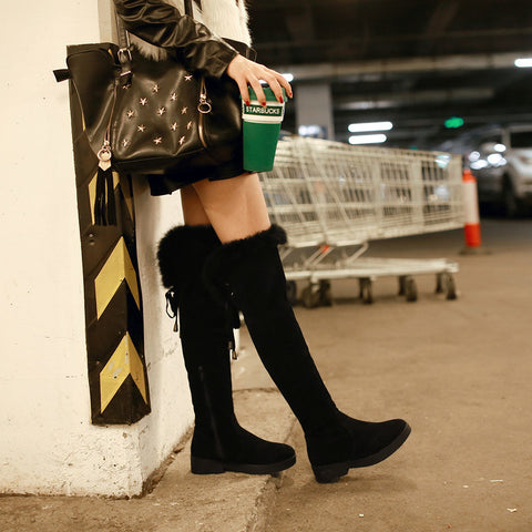 Suede Pure Color Round Toe Low Heel Back Strap Side Zipper Over Knee Boots 7 Black