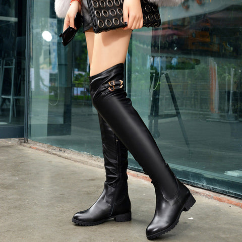 PU Pure Color Round Toe Side Zipper Metal Buckle Over Knee Boots 8 Black