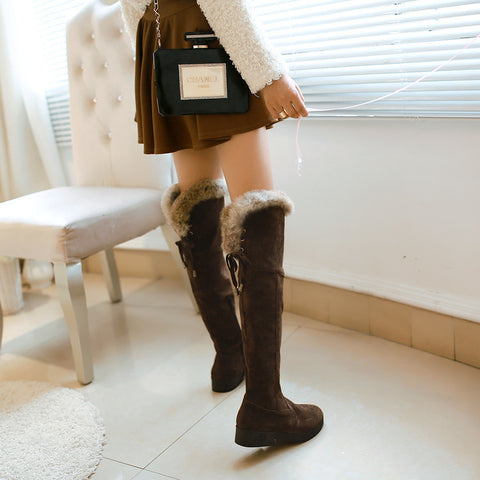 Suede Pure Color Round Toe Low Heel Back Strap Side Zipper Over Knee Boots 7.5 Chocolate