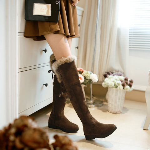 Suede Pure Color Round Toe Low Heel Back Strap Side Zipper Over Knee Boots 7 Chocolate