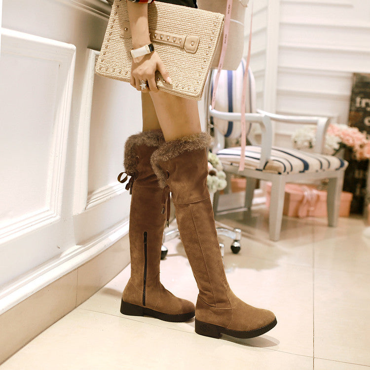Suede Pure Color Round Toe Low Heel Back Strap Side Zipper Over Knee Boots 7 Brown