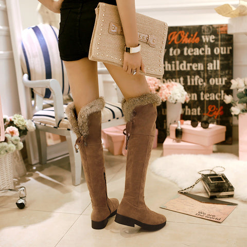 Suede Pure Color Round Toe Low Heel Back Strap Side Zipper Over Knee Boots 6.5 Brown