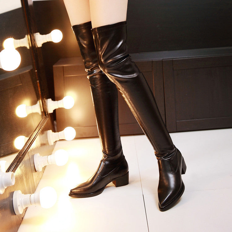 PU Black Pointed Toe Low Block Heel Over Knee Boots 7.5 Black