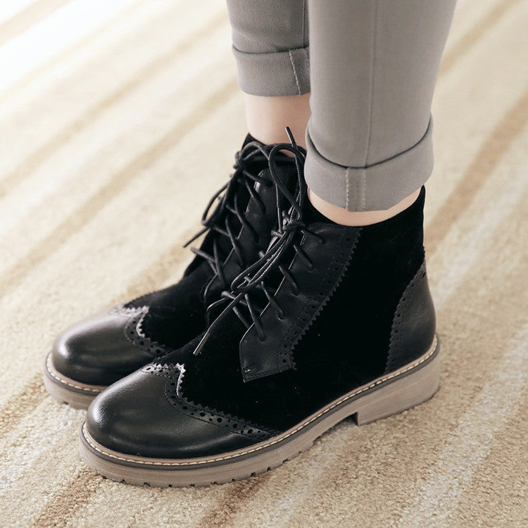 PU Mixed Color Round Toe Lace Up Low Heel Short Boots 41 Black