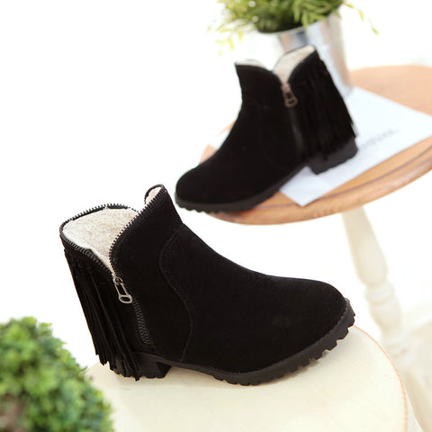 Suede Pure Color Round Toe Low Heel Side Zipper Tassel Short Boots 9.5 Black