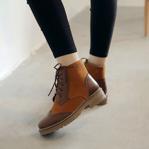 PU Mixed Color Round Toe Lace Up Low Heel Short Boots 43 Brown