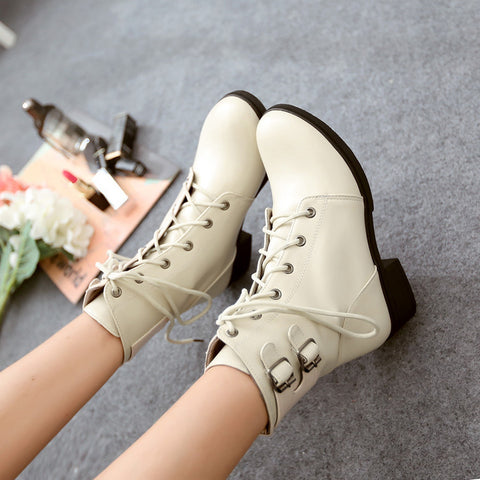 PU Pure Color Round Toe Low Heel Metal Buckle Lace Up Short Boots 9 White