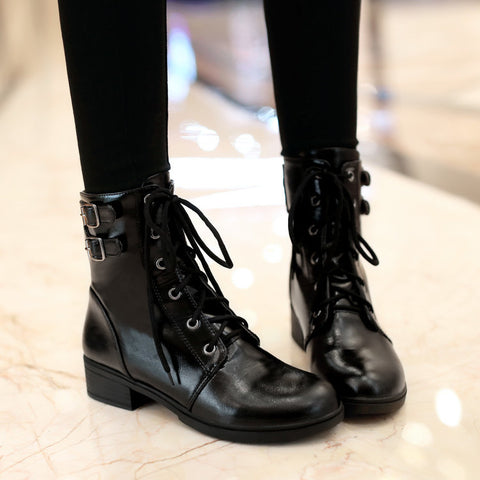 PU Pure Color Round Toe Low Heel Metal Buckle Lace Up Short Boots 8.5 Black