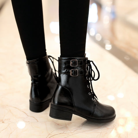 PU Pure Color Round Toe Low Heel Metal Buckle Lace Up Short Boots 9 Black