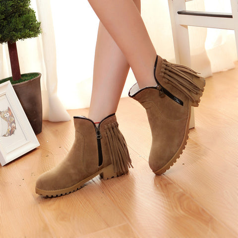 Suede Pure Color Round Toe Low Heel Side Zipper Tassel Short Boots 9 Light brown