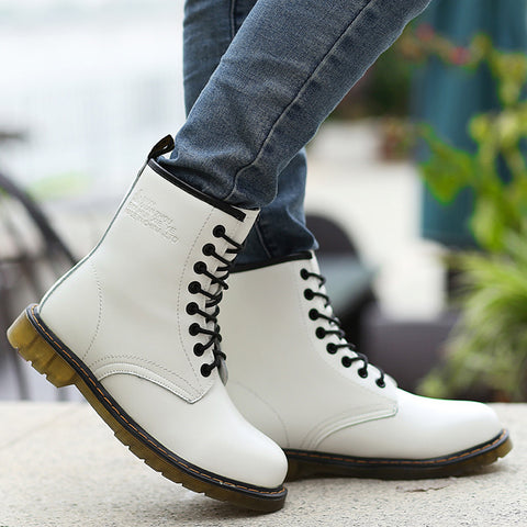PU Round Toe Pure Color Lace Up Low Heel Short Boots 8 White