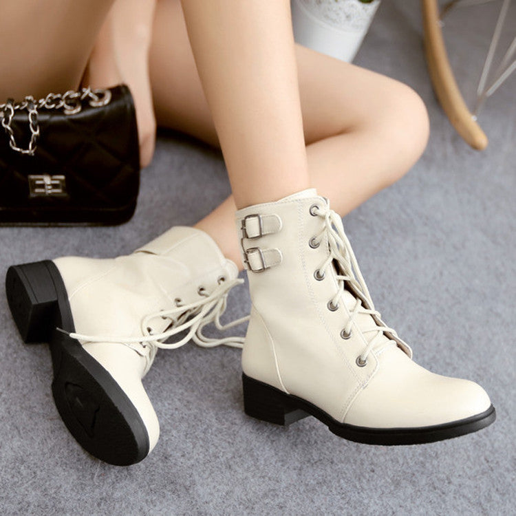 PU Pure Color Round Toe Low Heel Metal Buckle Lace Up Short Boots 8.5 White