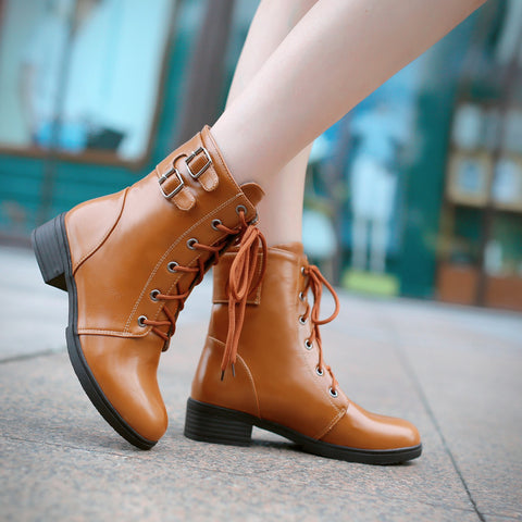 PU Pure Color Round Toe Low Heel Metal Buckle Lace Up Short Boots 9 Brown