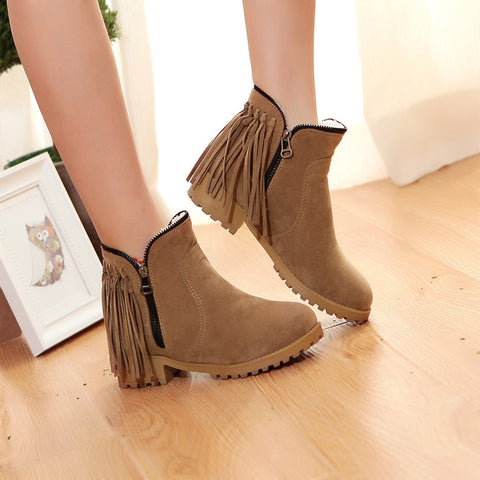 Suede Pure Color Round Toe Low Heel Side Zipper Tassel Short Boots 8.5 Light brown