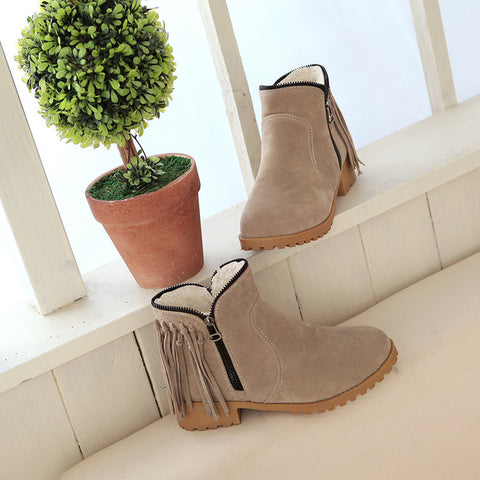Suede Pure Color Round Toe Low Heel Side Zipper Tassel Short Boots 9.5 Camel