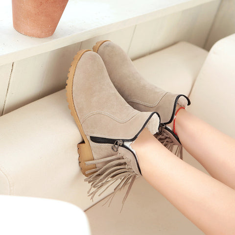 Suede Pure Color Round Toe Low Heel Side Zipper Tassel Short Boots 8.5 Camel