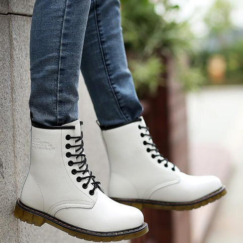 PU Round Toe Pure Color Lace Up Low Heel Short Boots 7.5 White