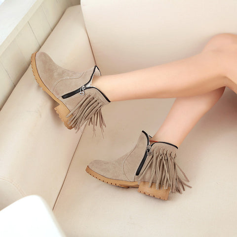 Suede Pure Color Round Toe Low Heel Side Zipper Tassel Short Boots 9 Camel
