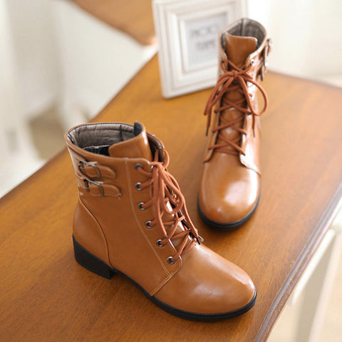 PU Pure Color Round Toe Low Heel Metal Buckle Lace Up Short Boots 9.5 Brown
