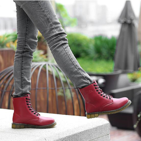 PU Round Toe Pure Color Lace Up Low Heel Short Boots 8 Red