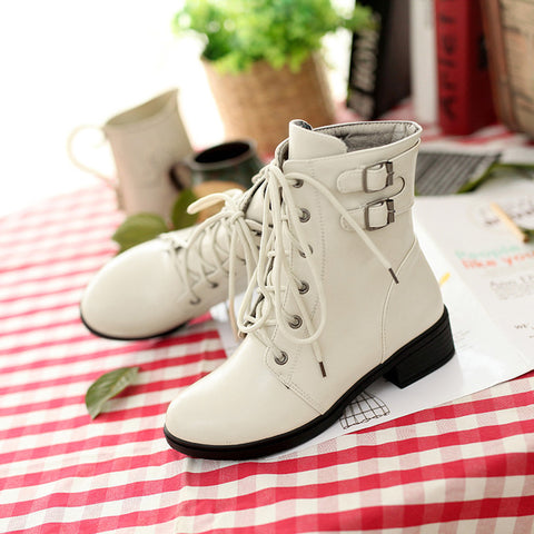 PU Pure Color Round Toe Low Heel Metal Buckle Lace Up Short Boots 9.5 White