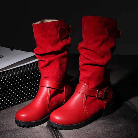 Suede Pure Color Round Toe Metal Buckle Low Heel Slouch boots 9.5 Red