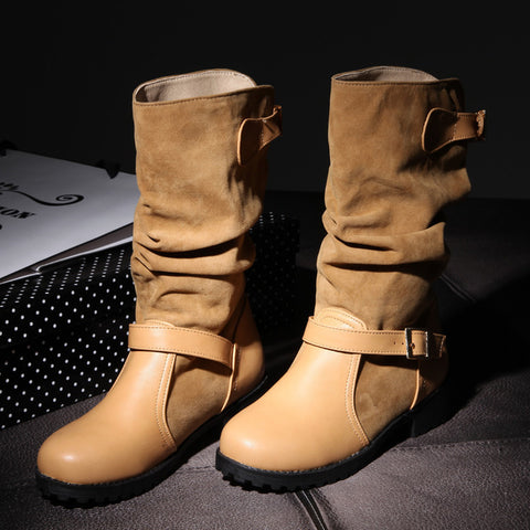 Suede Pure Color Round Toe Metal Buckle Low Heel Slouch boots 9.5 Light brown