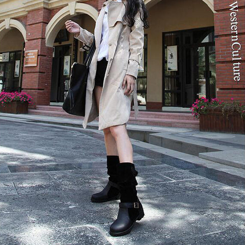 Suede Pure Color Round Toe Metal Buckle Low Heel Slouch boots 9 Black