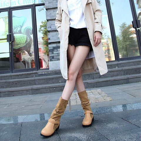 Suede Pure Color Round Toe Metal Buckle Low Heel Slouch boots 9 Light brown