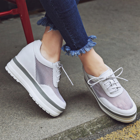 Mesh Round Toe Hidden Heel Lace Up White Sneakers 7.5 White