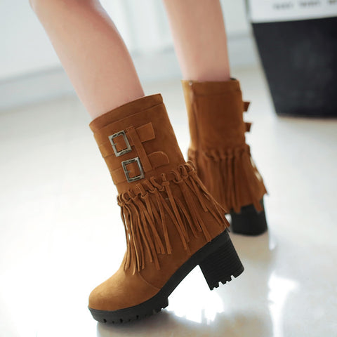 Suede Pure Color Round Toe Tassel Side Zipper Middle Block Heel Short Boots 7.5 Brown