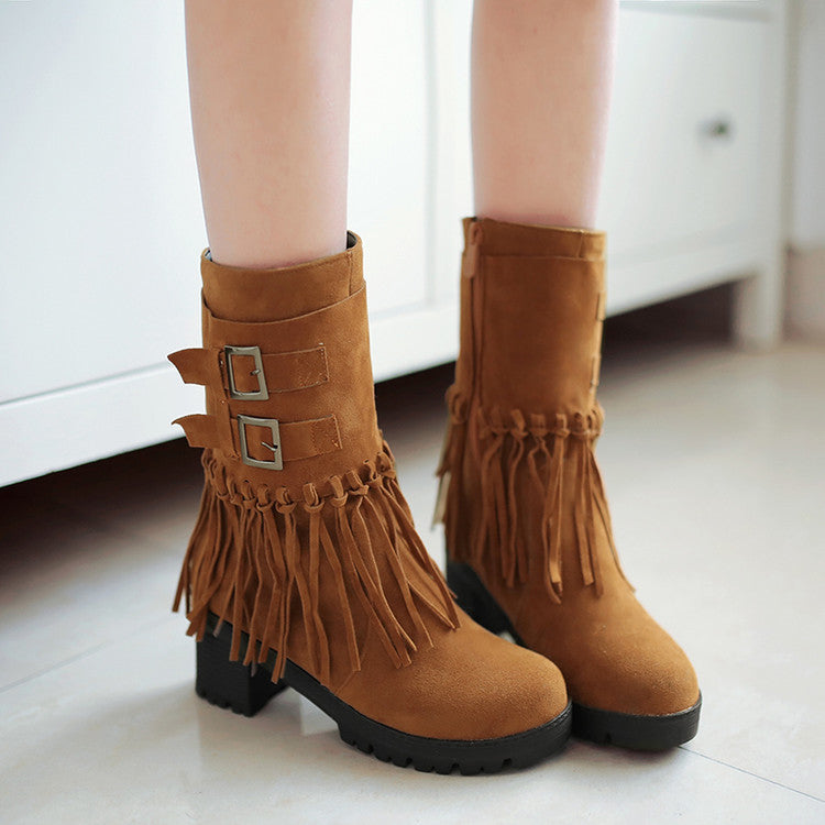 Suede Pure Color Round Toe Tassel Side Zipper Middle Block Heel Short Boots 7 Brown