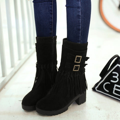 Suede Pure Color Round Toe Tassel Side Zipper Middle Block Heel Short Boots 7 Black