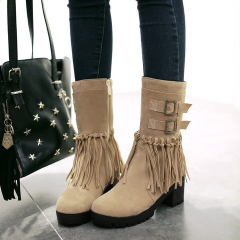 Suede Pure Color Round Toe Tassel Side Zipper Middle Block Heel Short Boots 7 Camel