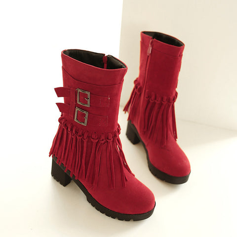 Suede Pure Color Round Toe Tassel Side Zipper Middle Block Heel Short Boots 6.5 Red